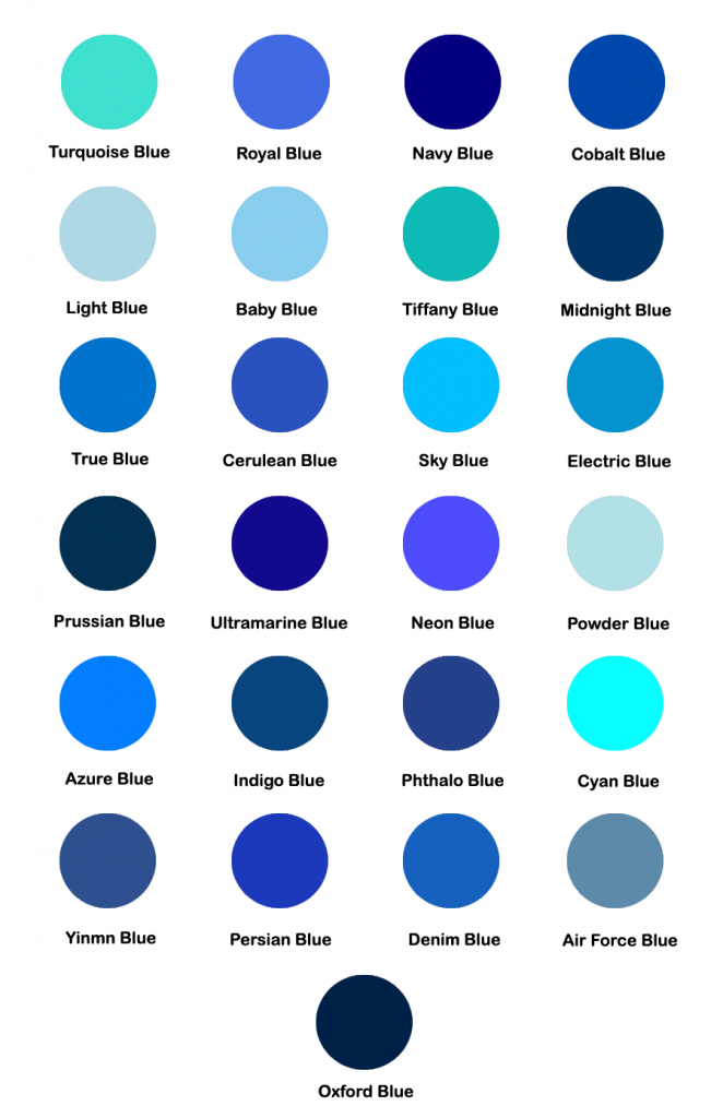 Shades of blue color