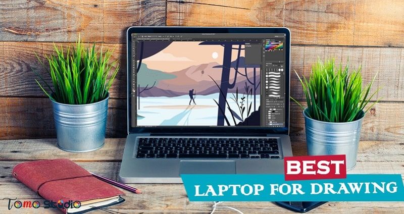 drawing laptop with pen